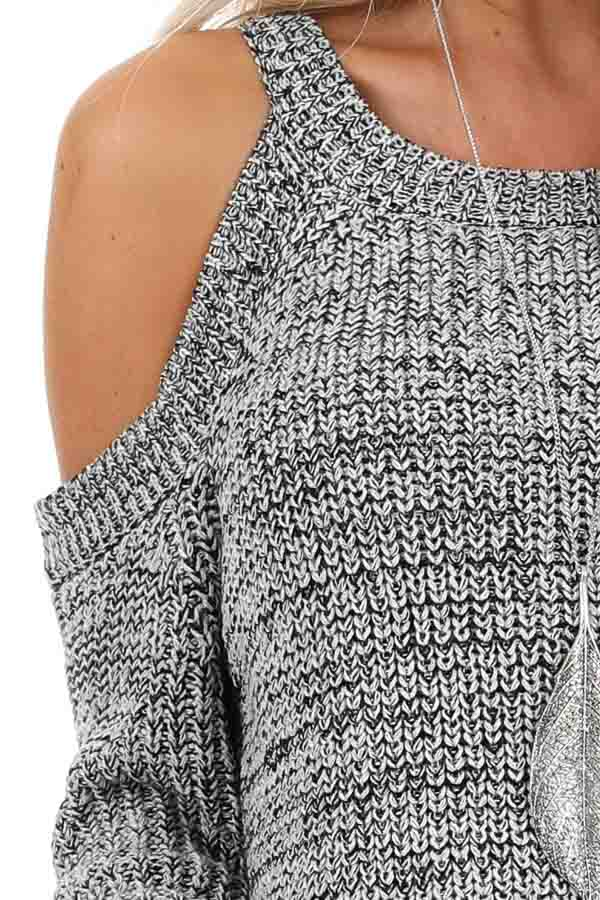 Black and Grey Knit Sweater with Cold Shoulders detail