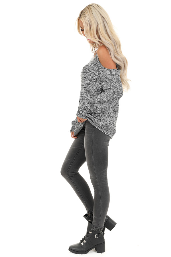 Black and Grey Knit Sweater with Cold Shoulders side full body
