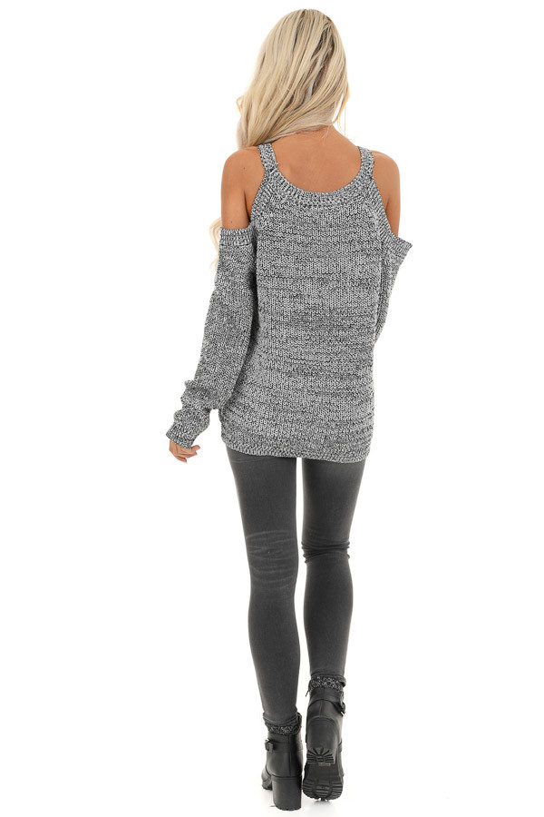 Black and Grey Knit Sweater with Cold Shoulders back full body