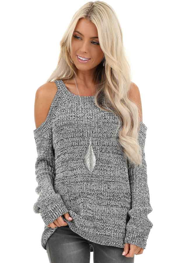 Black and Grey Knit Sweater with Cold Shoulders front close up
