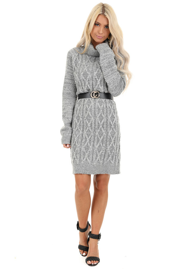 Heather Grey Cable Knit Sweater Dress with Turtleneck front full body