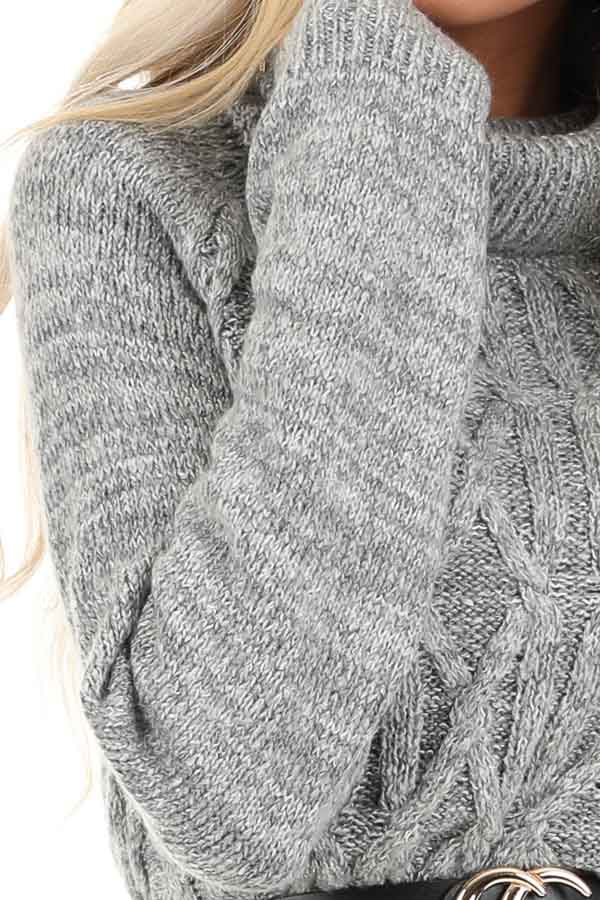 Heather Grey Cable Knit Sweater Dress with Turtleneck detail