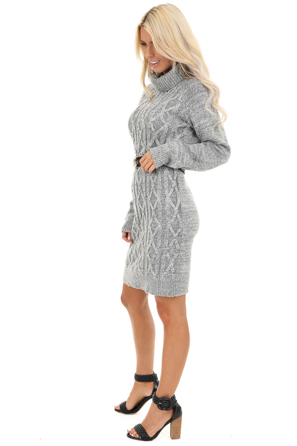 Heather Grey Cable Knit Sweater Dress with Turtleneck side full body