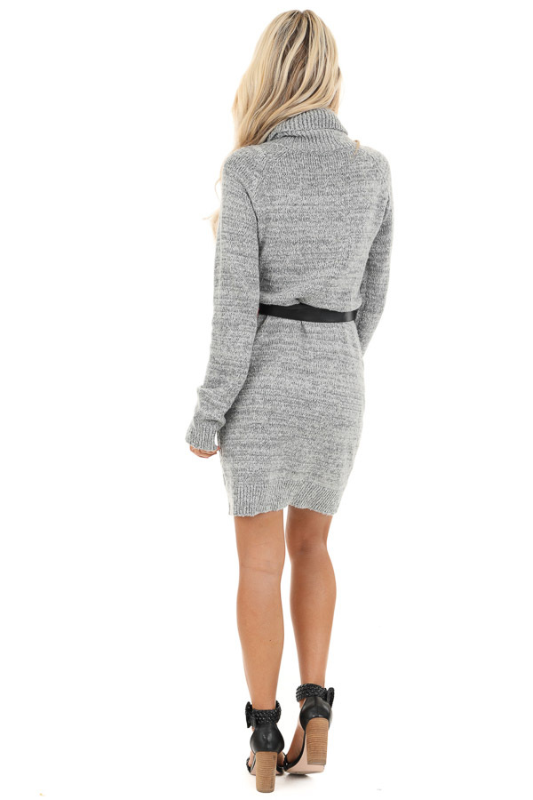 Heather Grey Cable Knit Sweater Dress with Turtleneck back full body