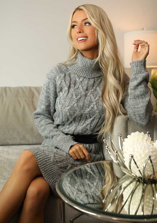 Heather Grey Cable Knit Sweater Dress with Turtleneck