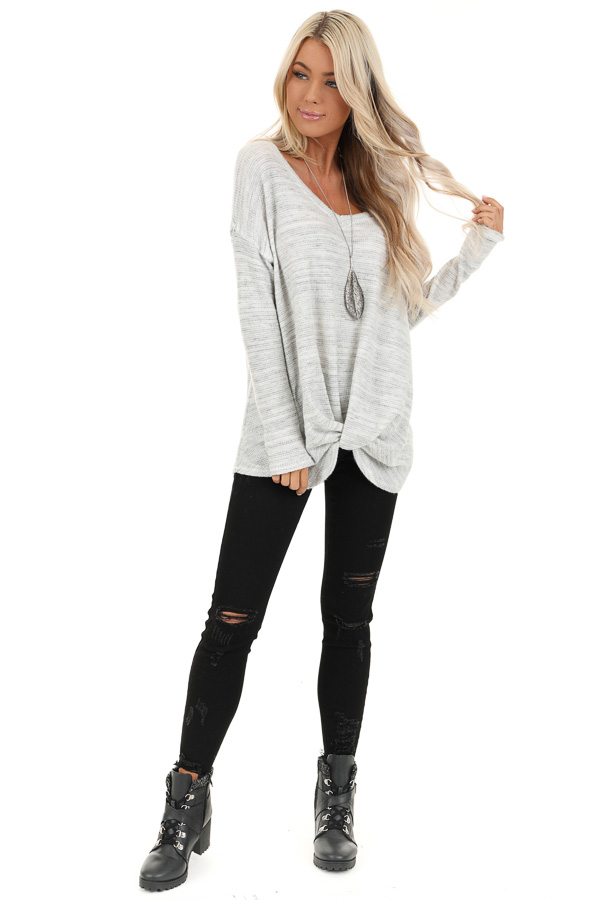 Snowy Owl Long Sleeve Knit Top with Front Twist Detail front full body
