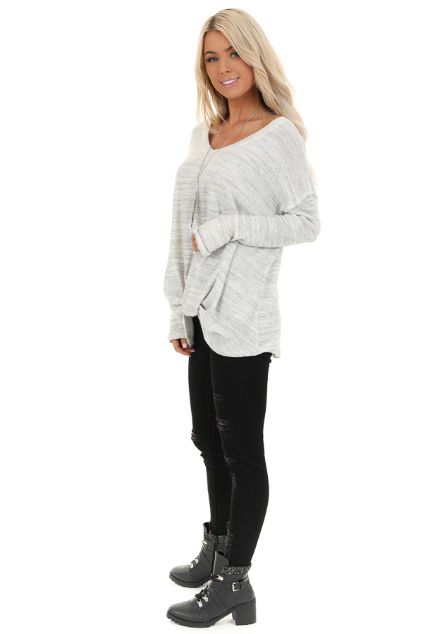 Snowy Owl Long Sleeve Knit Top with Front Twist Detail side full body