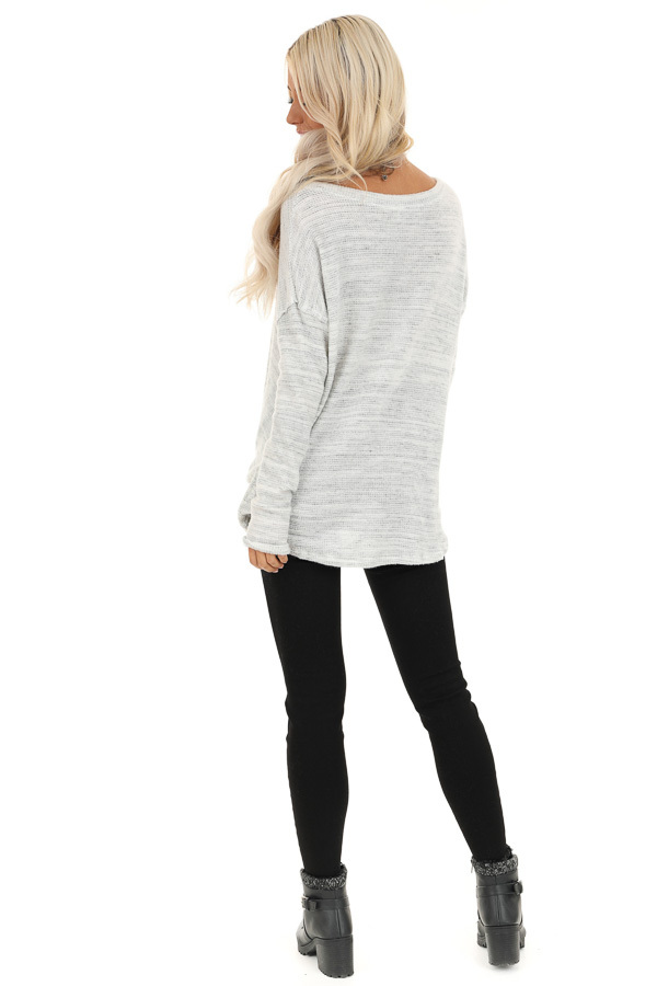Snowy Owl Long Sleeve Knit Top with Front Twist Detail back full body