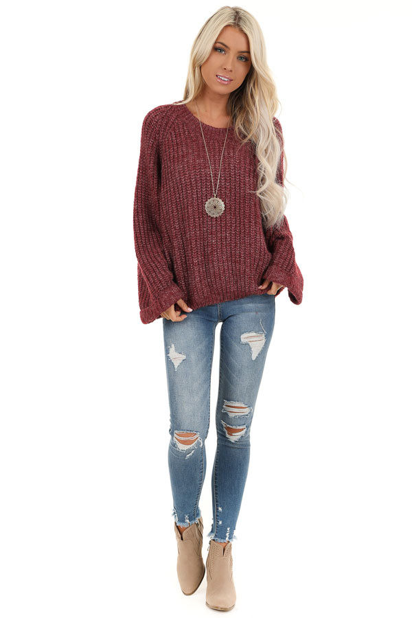 Burgundy Ribbed Knit Sweater Top with Rounded Neckline front full body