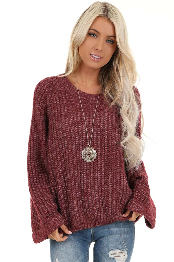 Burgundy Ribbed Knit Sweater Top with Rounded Neckline front close up