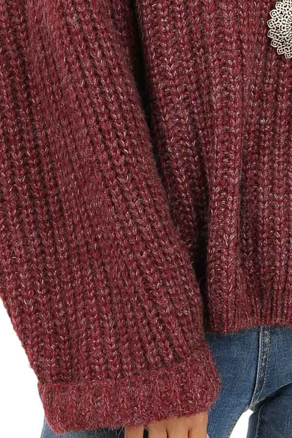 Burgundy Ribbed Knit Sweater Top with Rounded Neckline detail