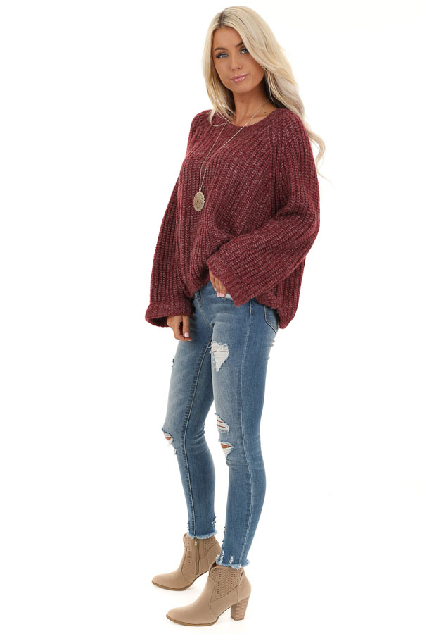Burgundy Ribbed Knit Sweater Top with Rounded Neckline side full body