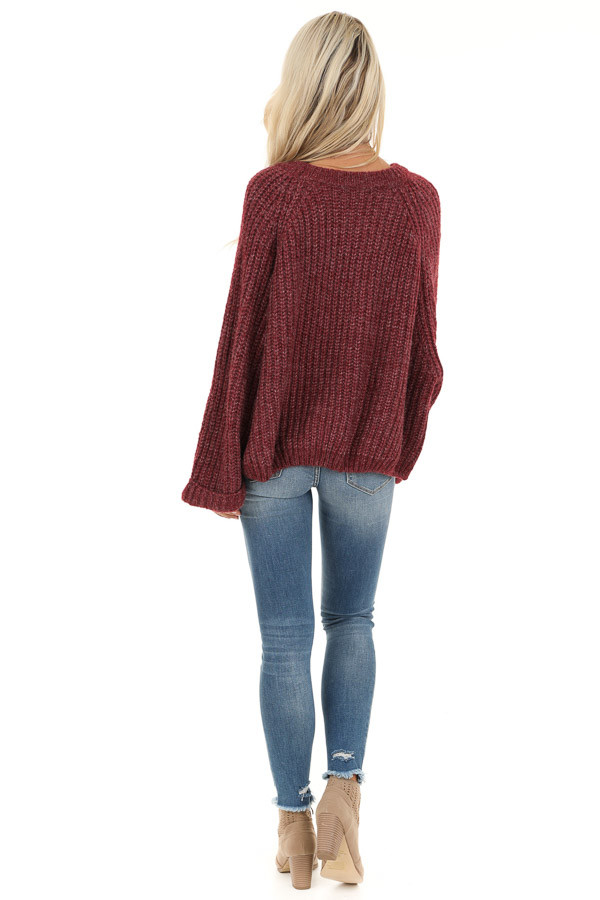 Burgundy Ribbed Knit Sweater Top with Rounded Neckline back full body