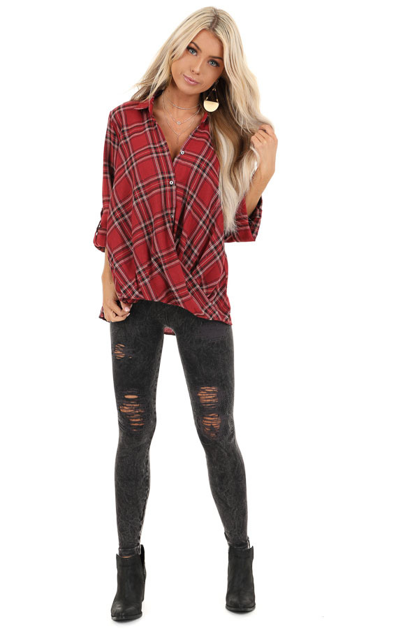 Rustic Red Plaid Button Up Flannel Top with Crossover Detail front full body