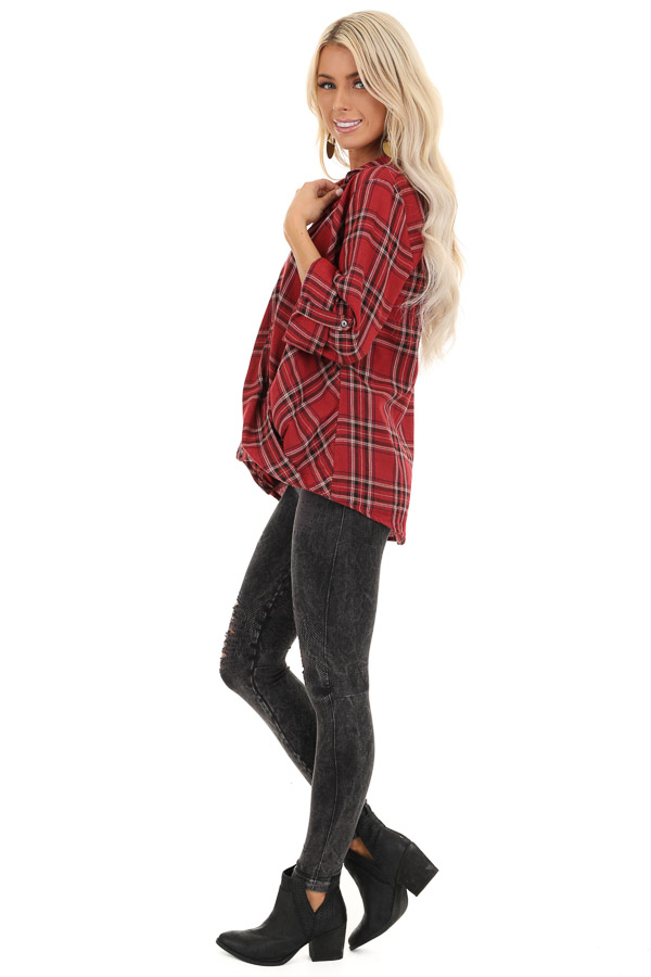 Rustic Red Plaid Button Up Flannel Top with Crossover Detail side full body