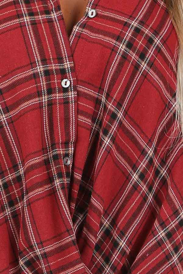 Rustic Red Plaid Button Up Flannel Top with Crossover Detail detail