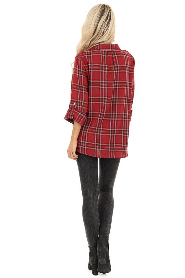 Rustic Red Plaid Button Up Flannel Top with Crossover Detail back full body