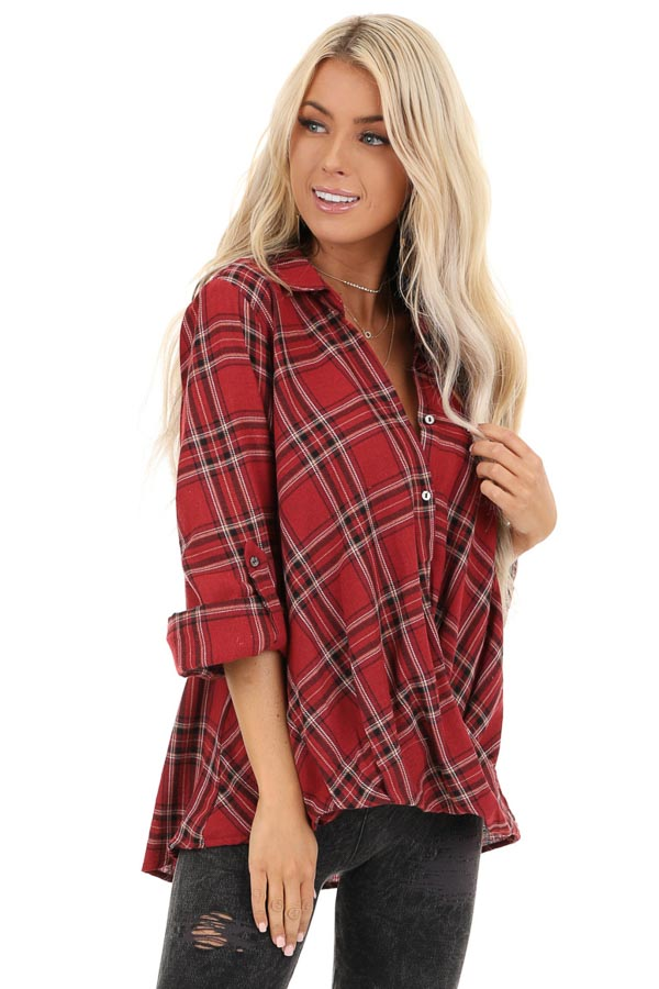 Rustic Red Plaid Button Up Flannel Top with Crossover Detail front close up