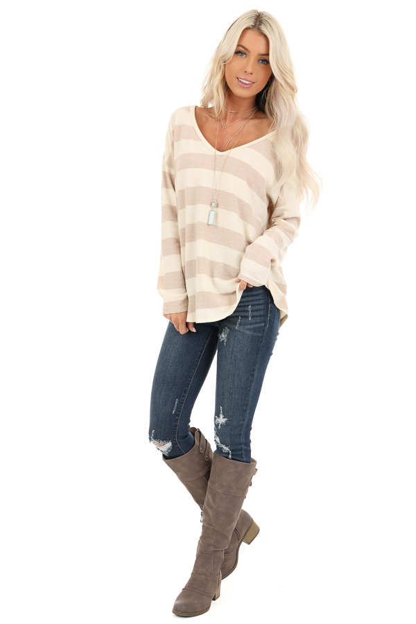Sandy Striped Long Sleeve Relaxed Fit V Neck Top front full body