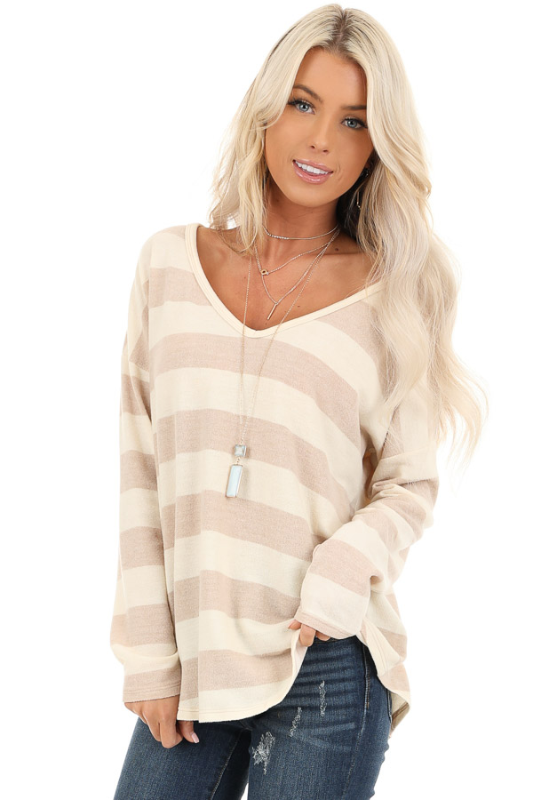 Sandy Striped Long Sleeve Relaxed Fit V Neck Top front close up