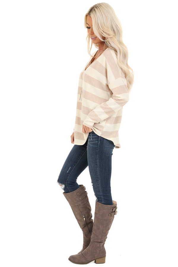 Sandy Striped Long Sleeve Relaxed Fit V Neck Top side full body