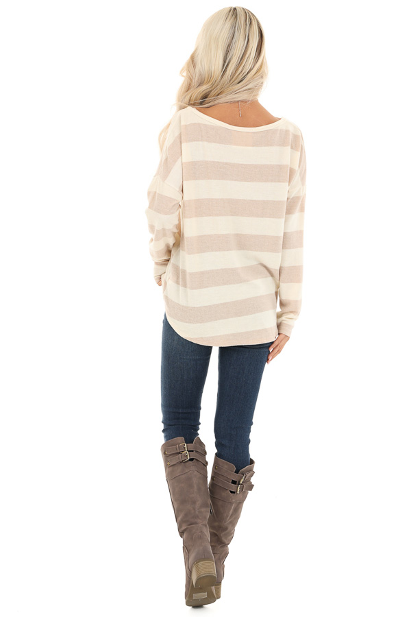 Sandy Striped Long Sleeve Relaxed Fit V Neck Top back full body
