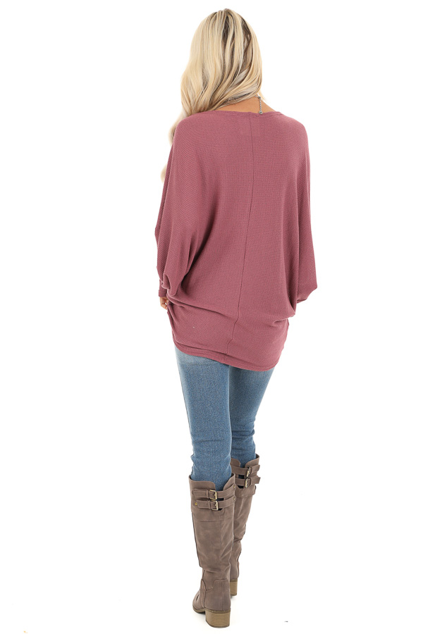 Mauve Oversized Wide Boat Neck Top with Long Sleeves back full body