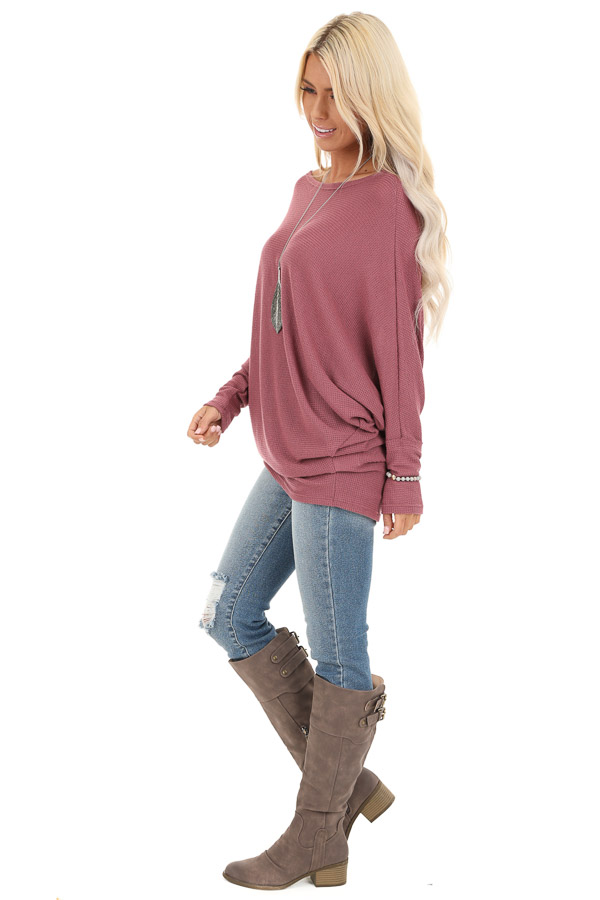 Mauve Oversized Wide Boat Neck Top with Long Sleeves side full body
