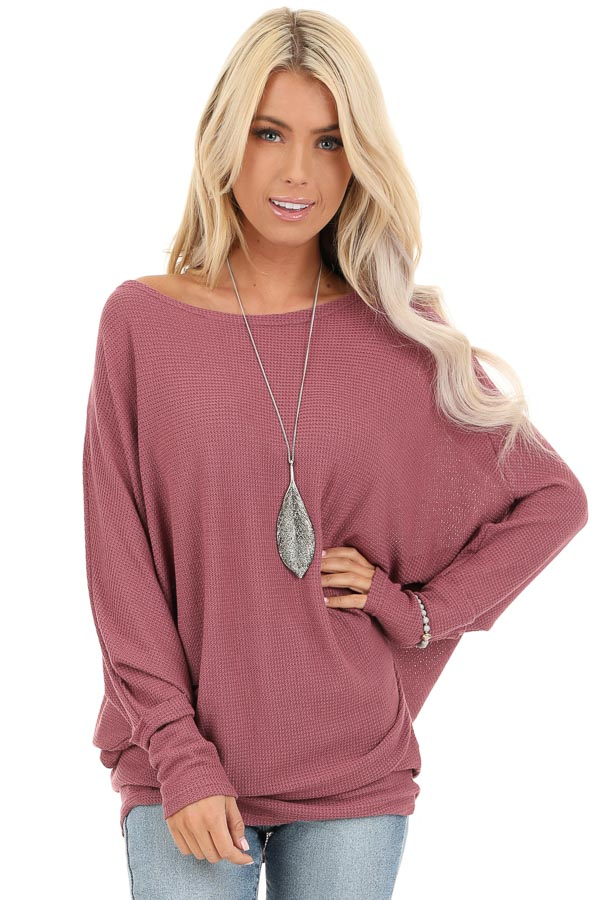Mauve Oversized Wide Boat Neck Top with Long Sleeves front close up