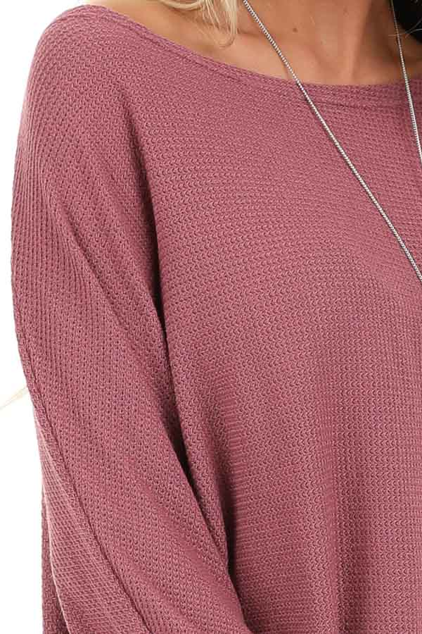 Mauve Oversized Wide Boat Neck Top with Long Sleeves detail