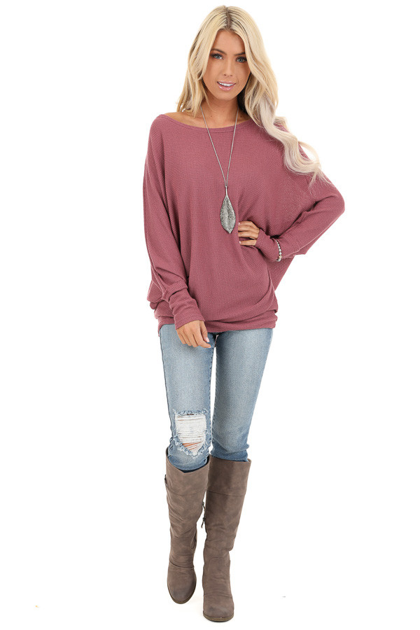 Mauve Oversized Wide Boat Neck Top with Long Sleeves front full body