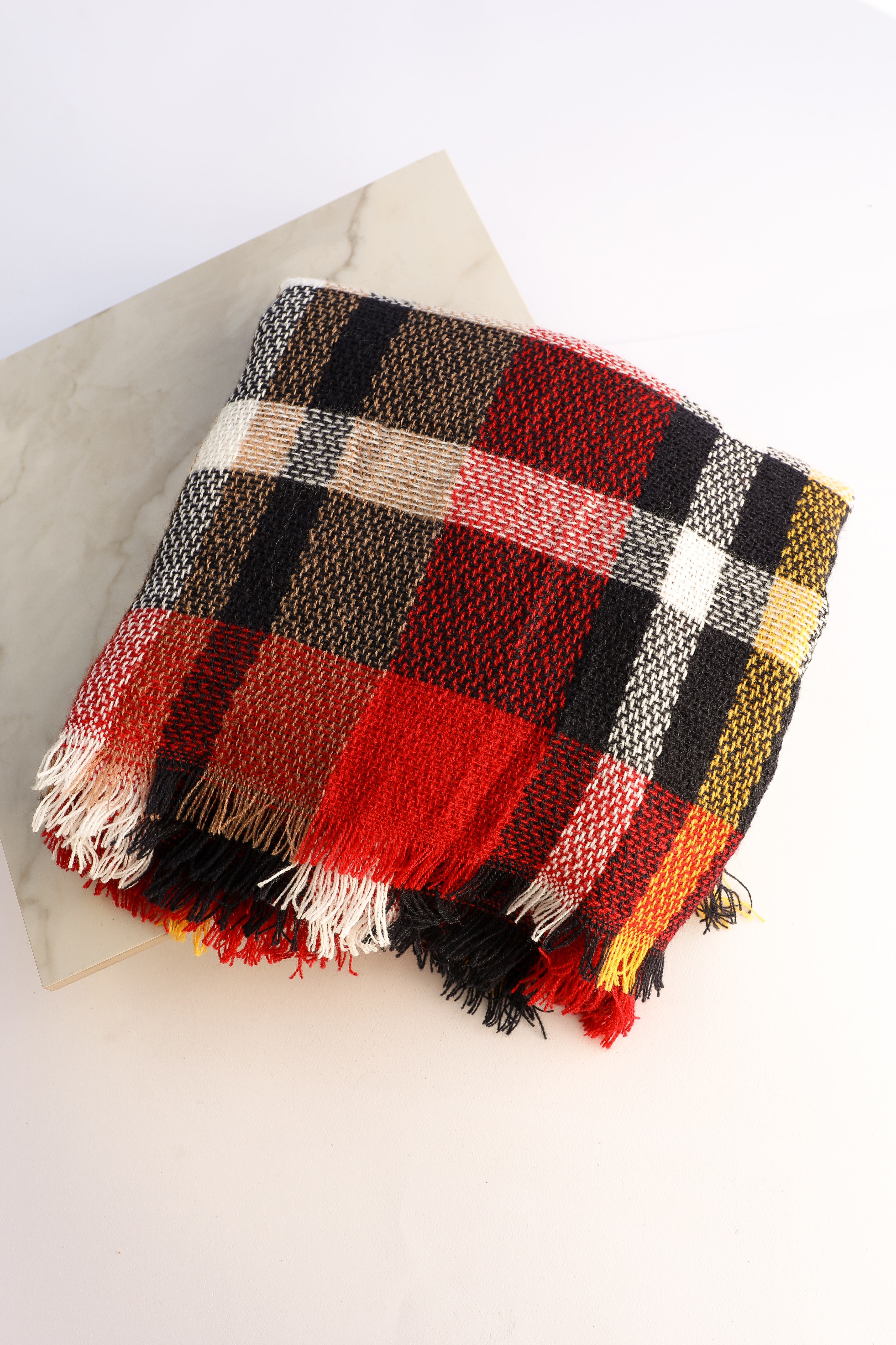 Red and Navy Blue Plaid Scarf with Fringe Detail