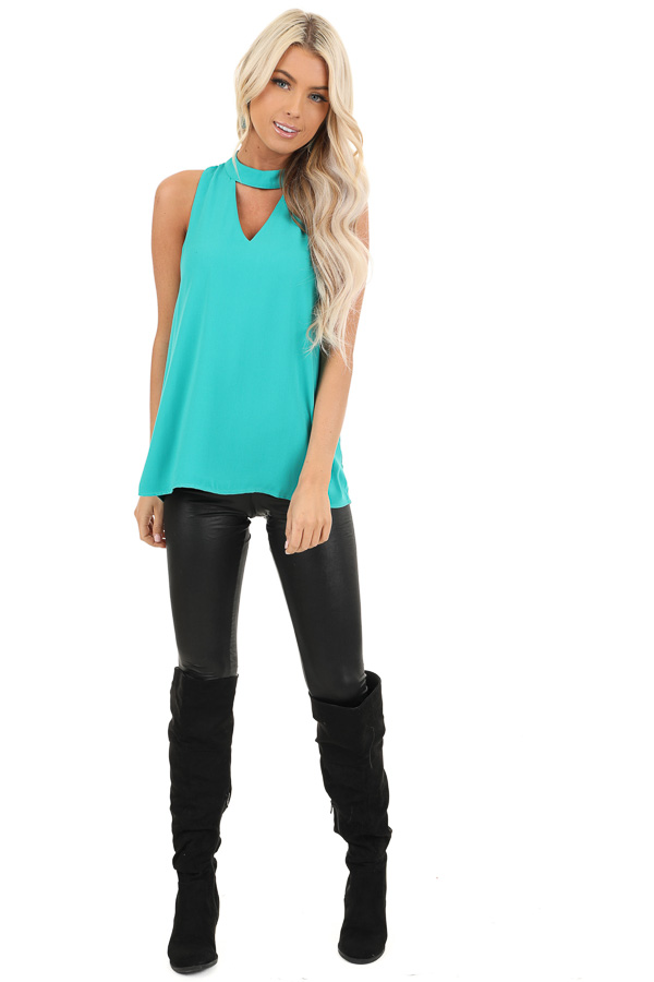 Seafoam Blue Sleeveless Choker Neck Top with Button Closure front full body