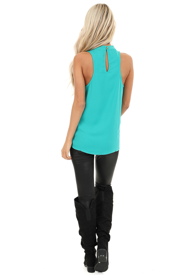 Seafoam Blue Sleeveless Choker Neck Top with Button Closure back full body
