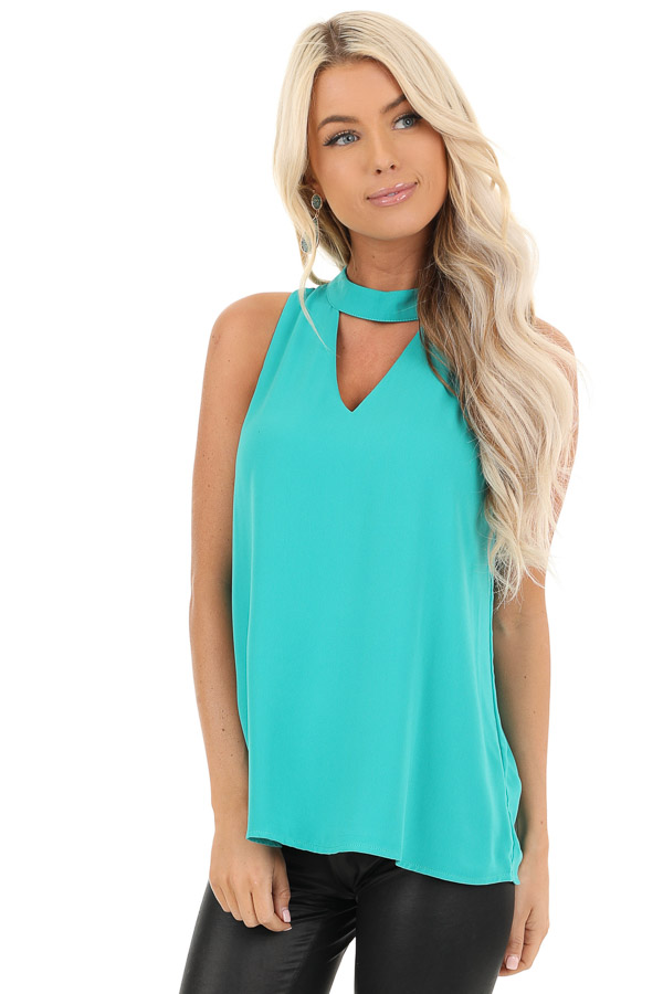 Seafoam Blue Sleeveless Choker Neck Top with Button Closure front close up