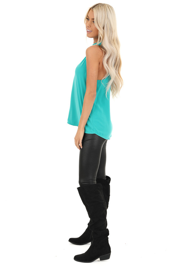 Seafoam Blue Sleeveless Choker Neck Top with Button Closure side full body