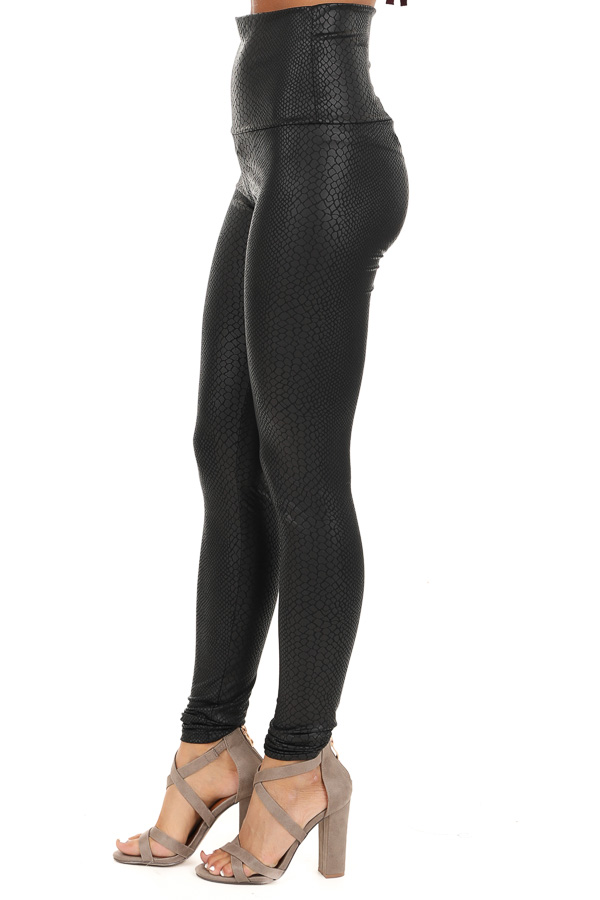 Black Snakeskin High Waisted Leggings side view