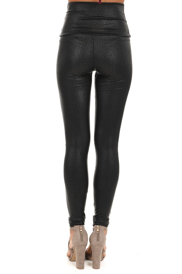 Black Snakeskin High Waisted Leggings back view