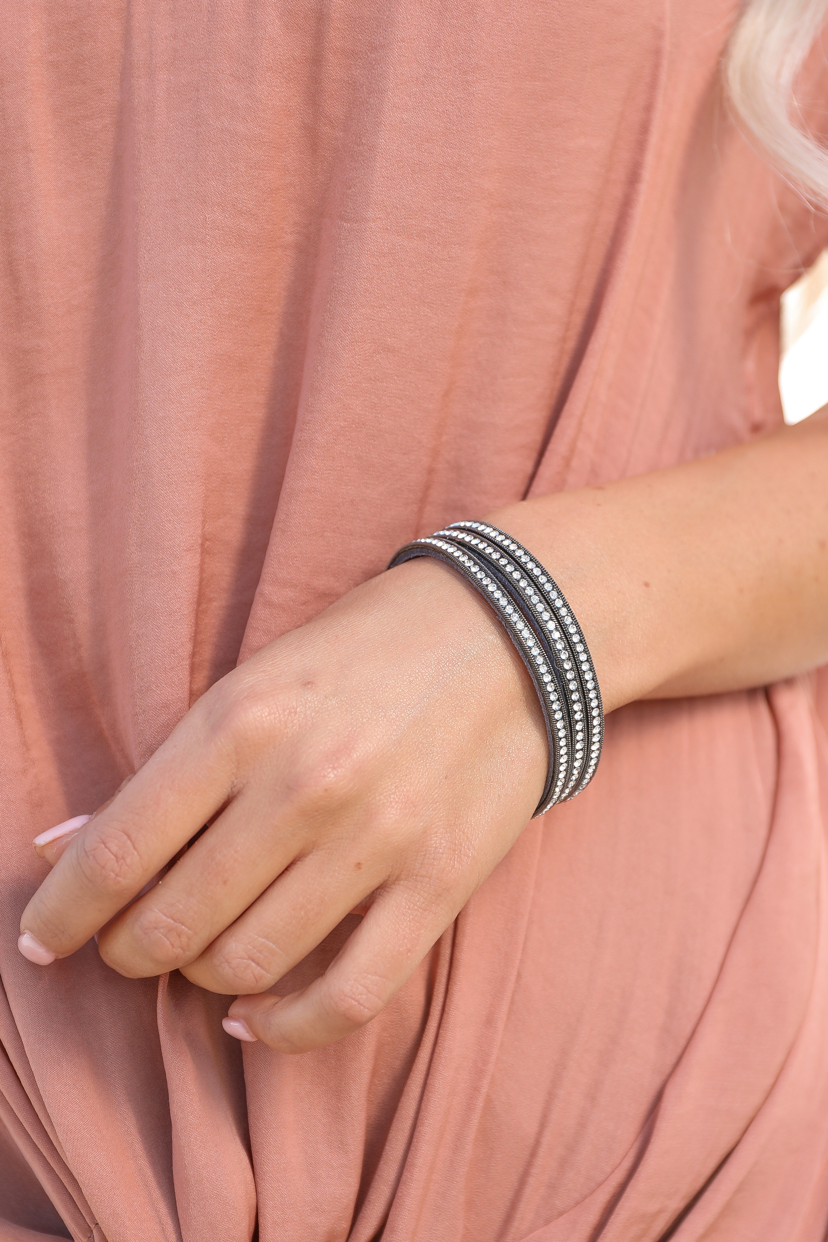 Charcoal Layered Magnetic Clasp Bracelet with Rhinestones