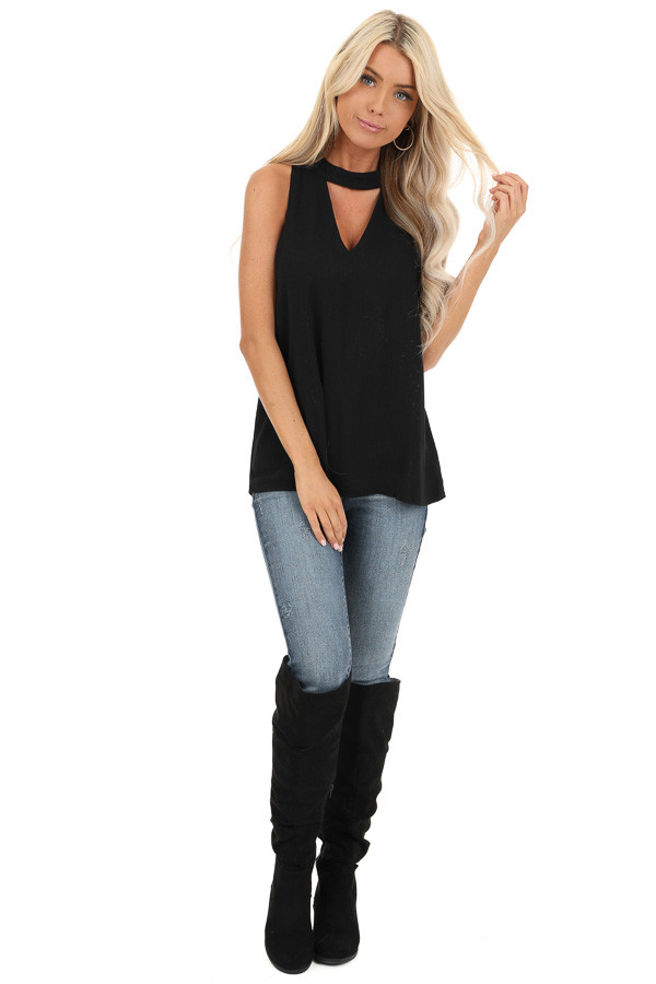 Raven Black Sleeveless Choker Neck Top with Button Closure front full body