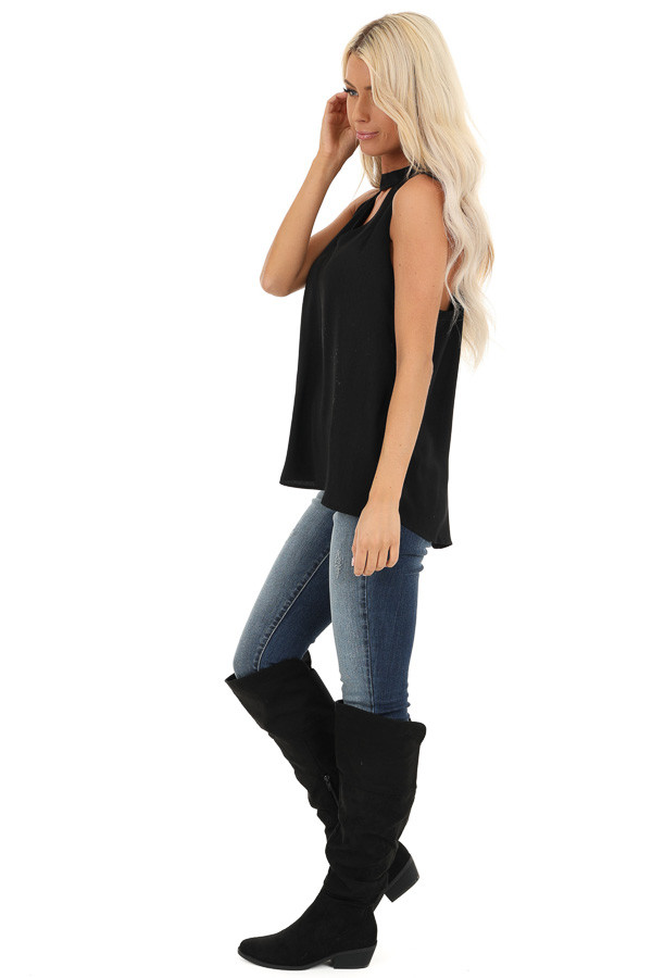 Raven Black Sleeveless Choker Neck Top with Button Closure side full body