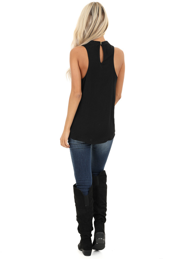 Raven Black Sleeveless Choker Neck Top with Button Closure back full body