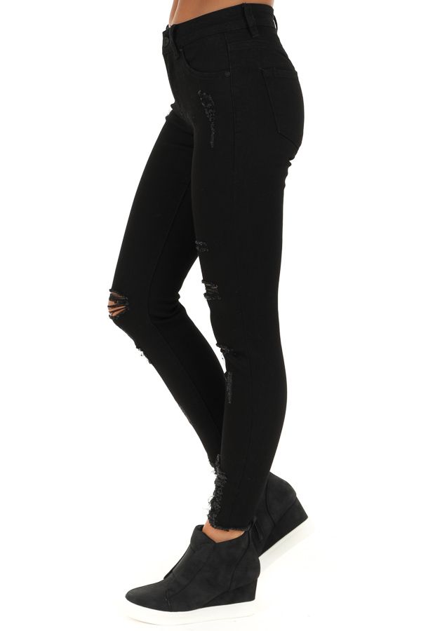 Midnight Black Distressed Mid Rise Skinny Jeans side view
