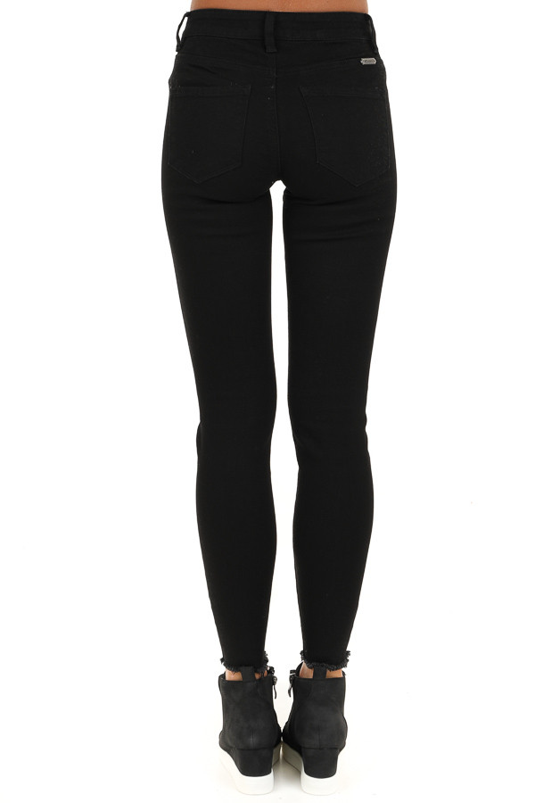 Midnight Black Distressed Mid Rise Skinny Jeans back view