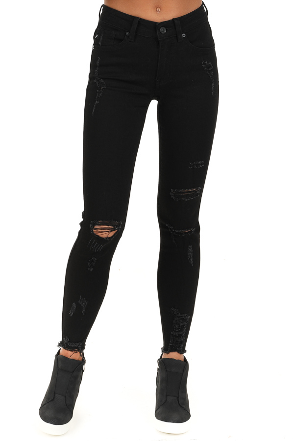 Midnight Black Distressed Mid Rise Skinny Jeans frotn view