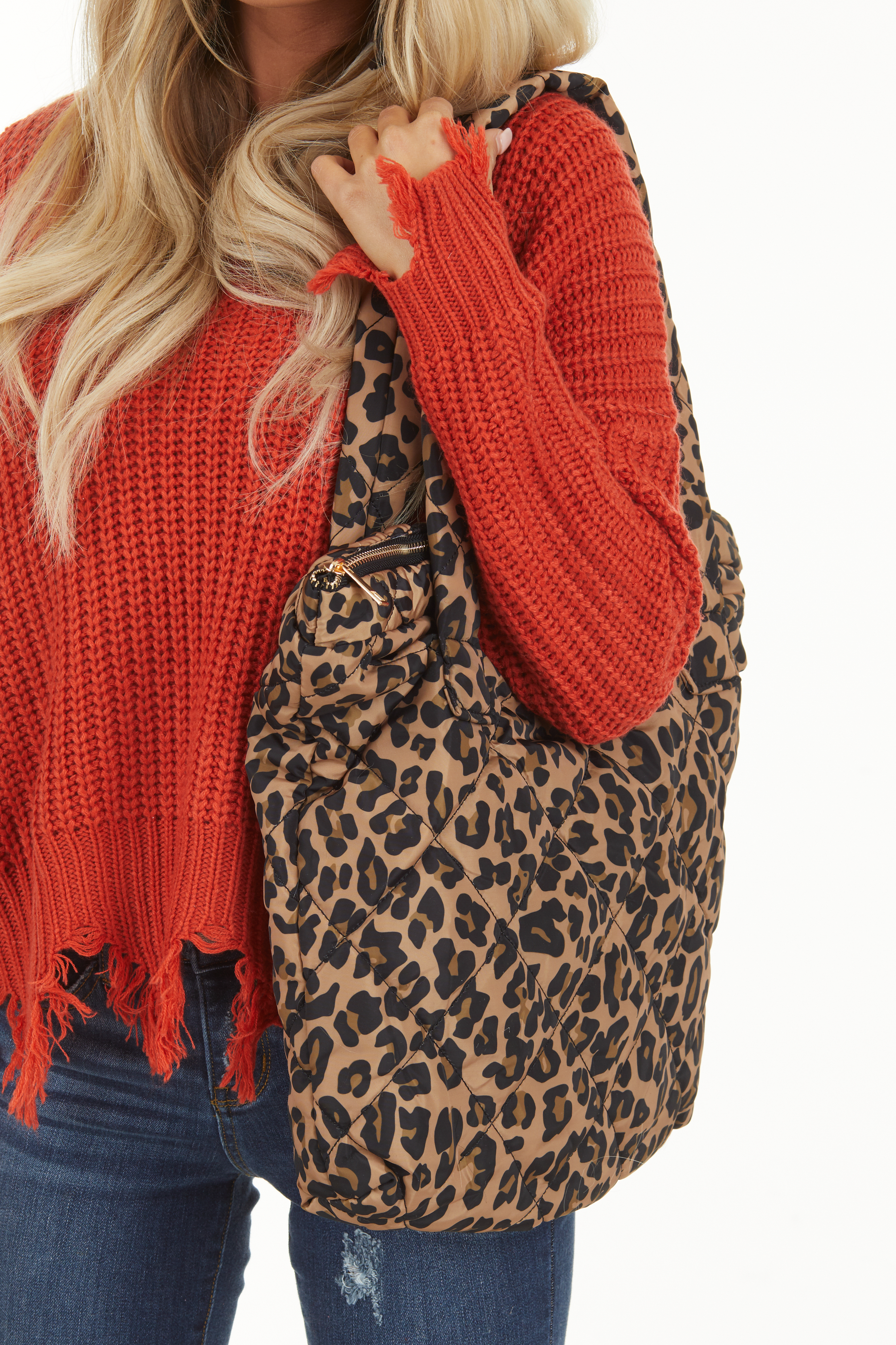 Caramel and Black Leopard Print Quilted Tote Bag