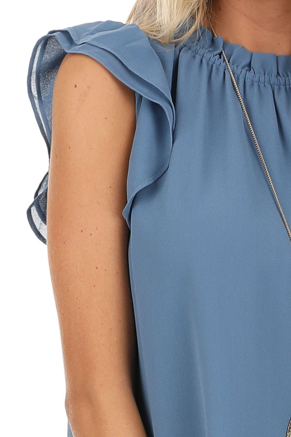 Slate Blue Sleeveless Sheer Top with Ruffle Details detail