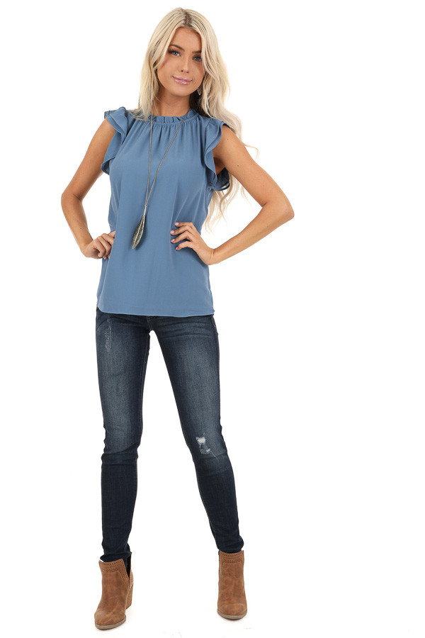 Slate Blue Sleeveless Sheer Top with Ruffle Details front full body