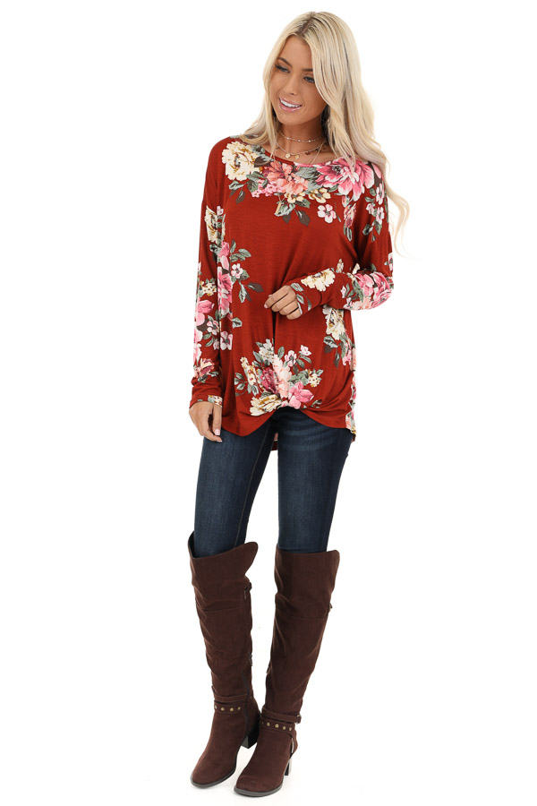 Burnt Orange Floral Print Long Sleeve Top with Twisted Front front full body