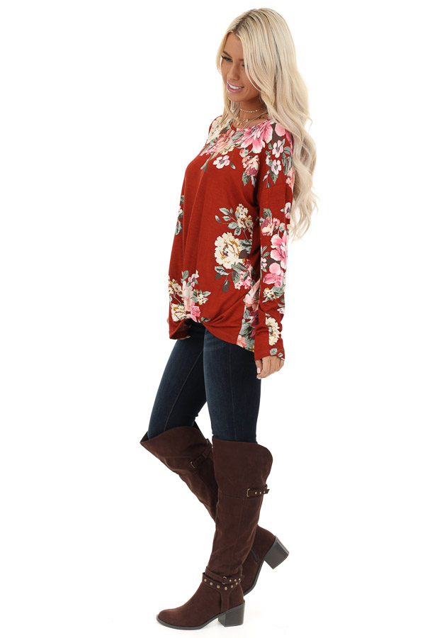 Burnt Orange Floral Print Long Sleeve Top with Twisted Front side full body